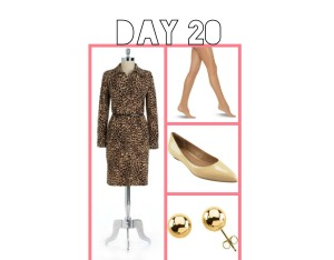 Animal print dress and simple flat shoes are great for a busy day.