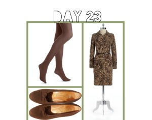 Animal print dress with brown tights and vintage brown suede shoes.  The great thing about this animal print dress is it goes with black and brown tights.